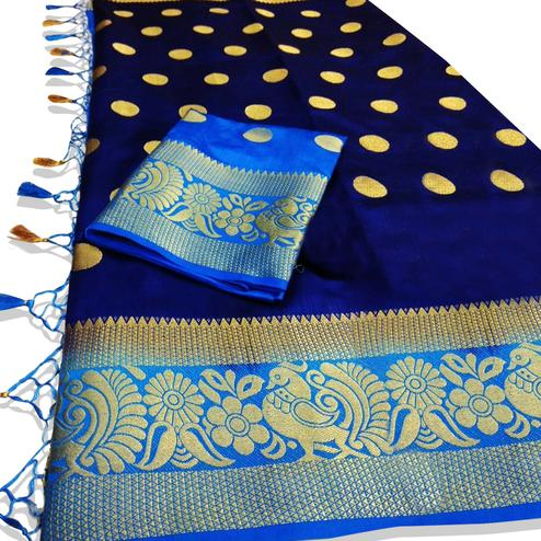 Marvellous Navy Blue Colored Festive Wear Woven Tussar Silk Saree