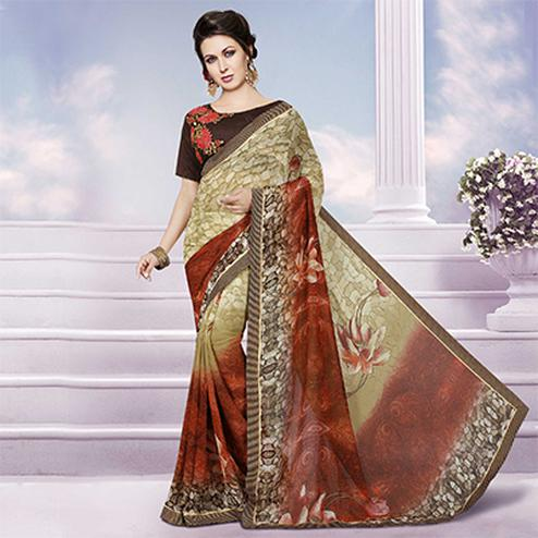 Beige - Red Printed Georgette Saree