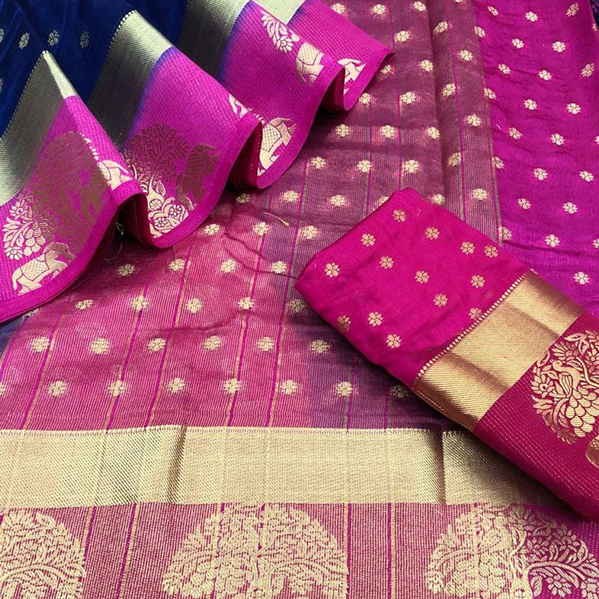 Gorgeous Navy Blue-Pink Colored Festive Wear Woven Tussar Silk Saree