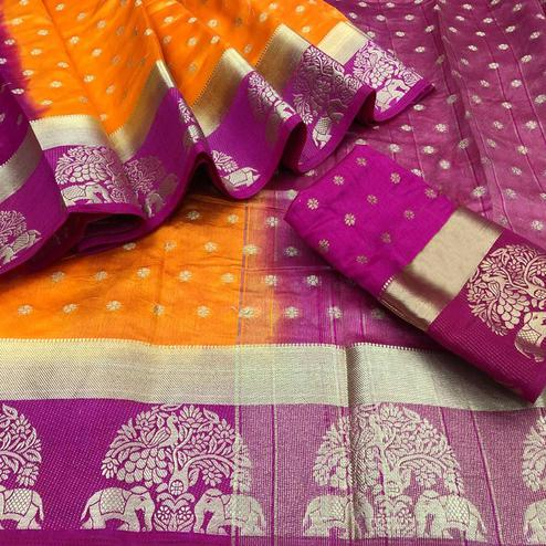 Mesmerising Pink-Orange Colored Festive Wear Woven Tussar Silk Saree