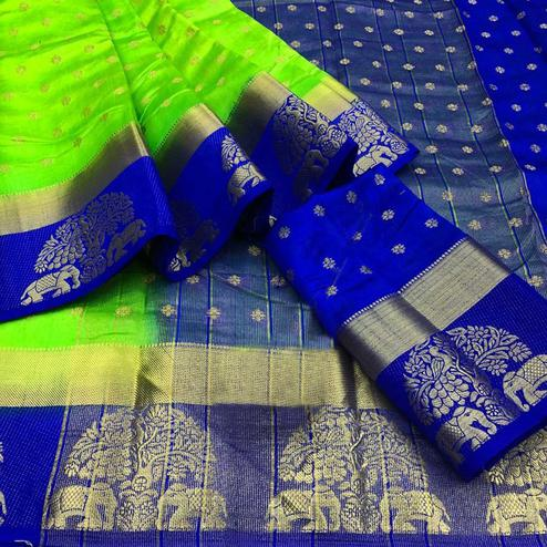 Magnetic Blue-Green Colored Festive Wear Woven Tussar Silk Saree