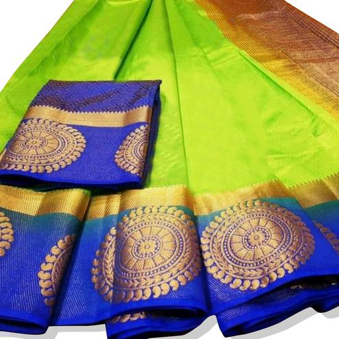 Refreshing Green Colored Festive Wear Woven Tussar Silk Saree