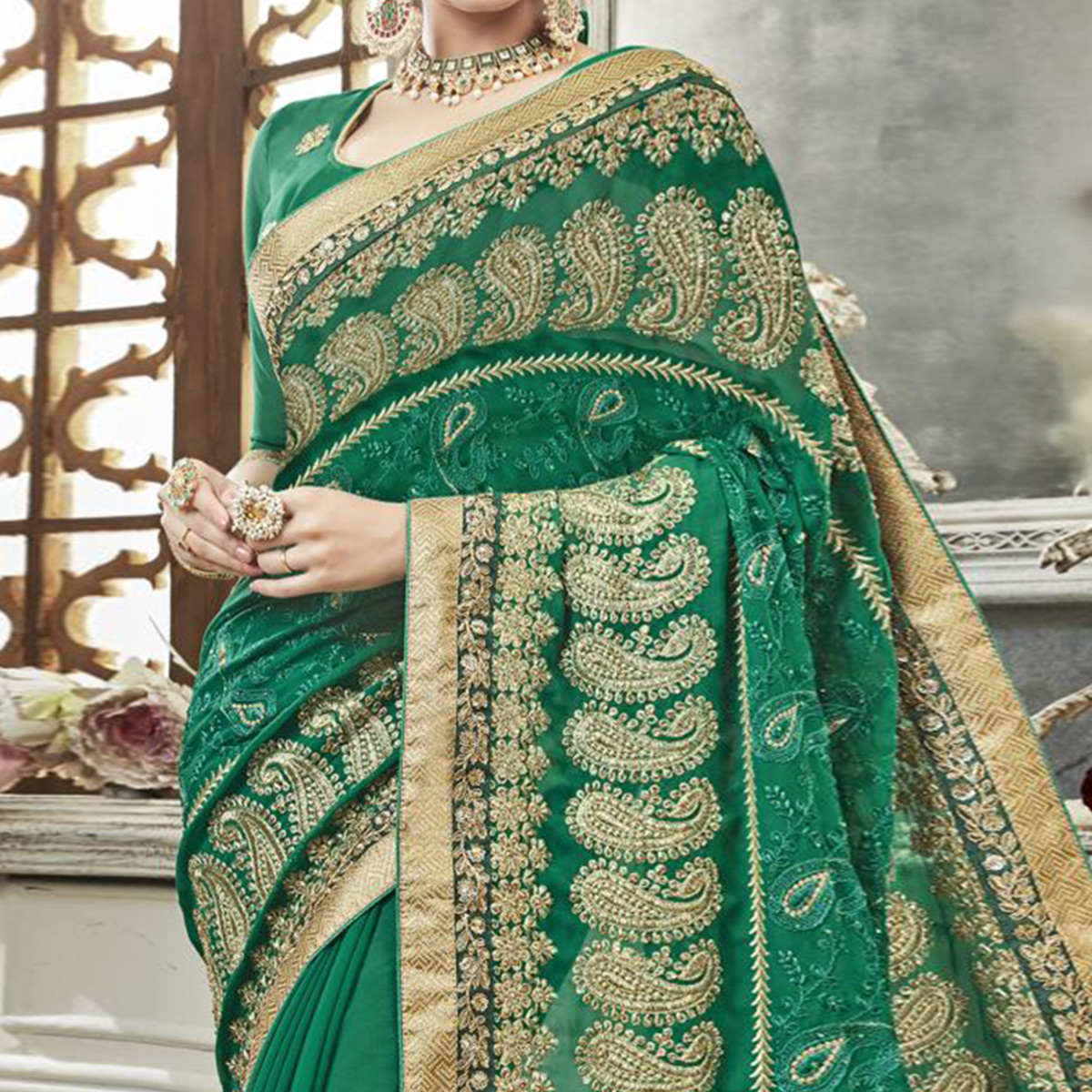 Ethnic Green Colored Partywear Embroidered Faux Georgette Saree