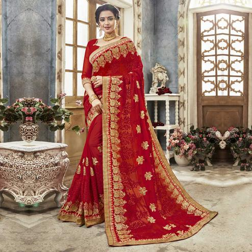 Exceptional Red Colored Partywear Embroidered Faux Georgette Saree