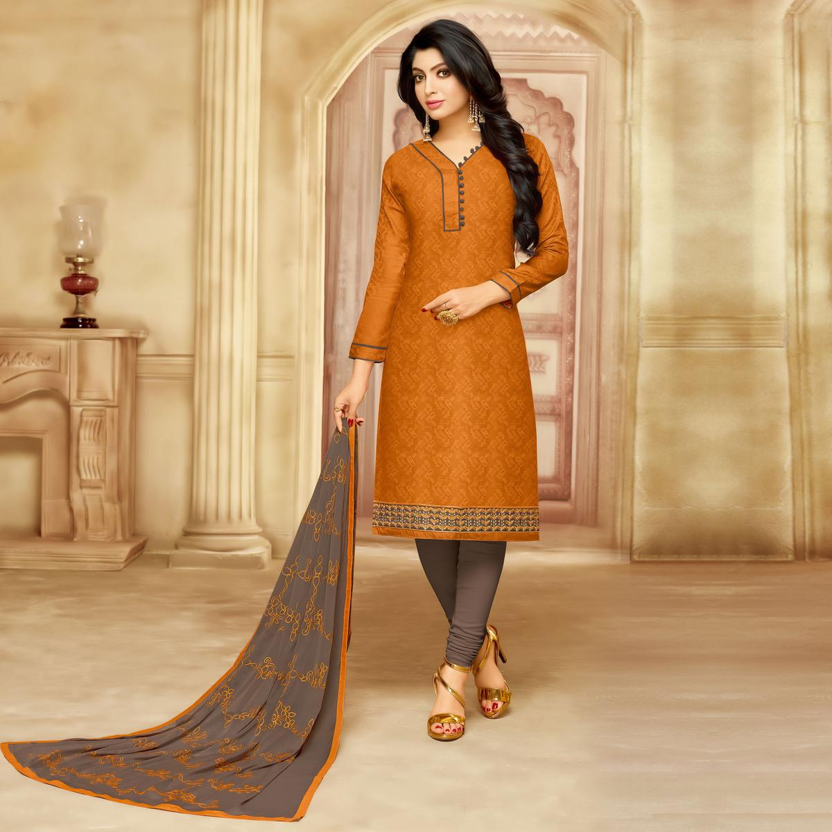 Lovely Mustard Cotton Jacquard Designer Embroidered Dress Material