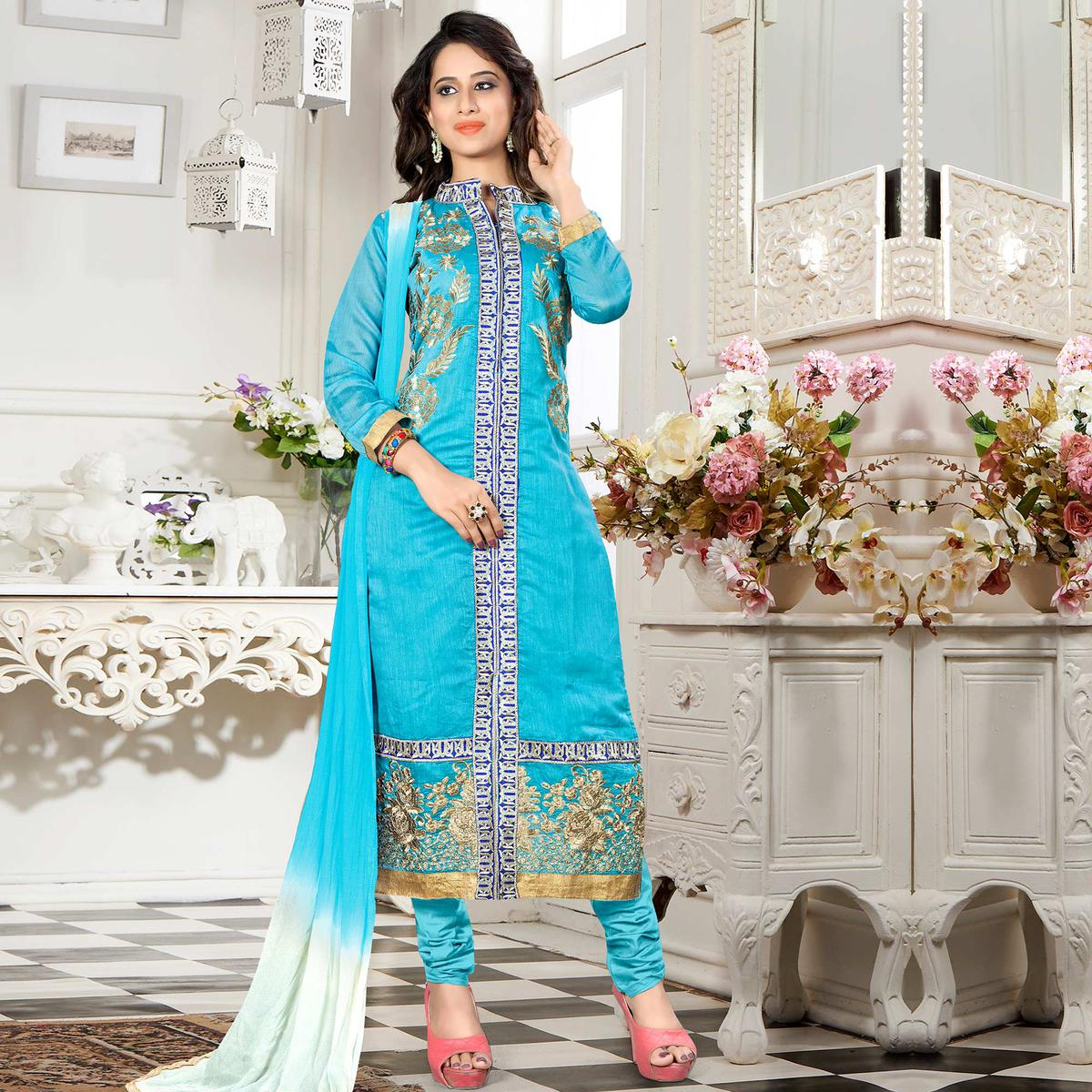 Appealing Sky Blue Colored Party Wear Embroidered Chanderi Silk Dress Material