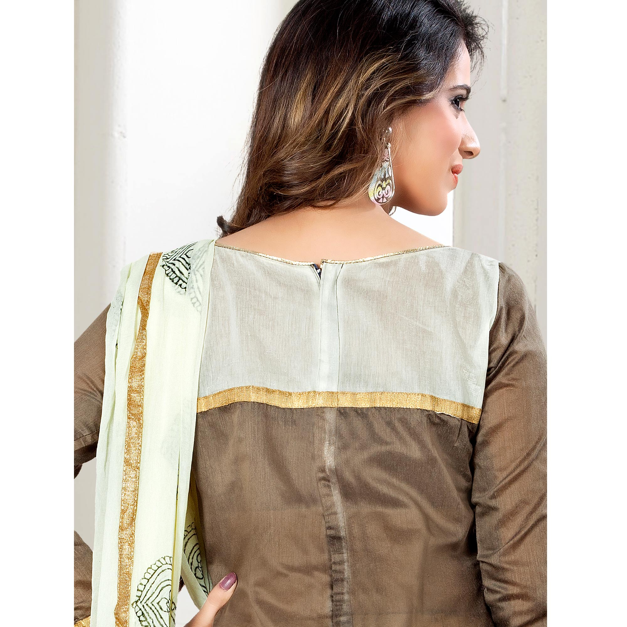 Groovy Brown Colored Party Wear Embroidered Chanderi Silk Dress Material