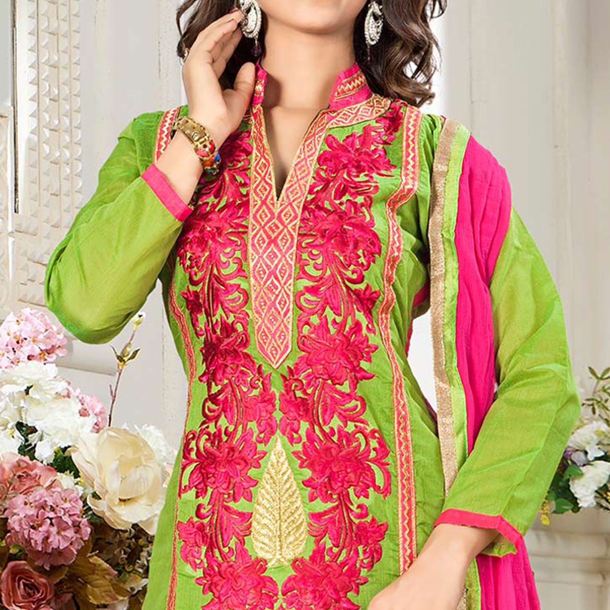 Prominent Green Colored Party Wear Embroidered Chanderi Silk Dress Material