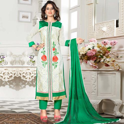 Capricious White Colored Party Wear Embroidered Chanderi Silk Dress Material