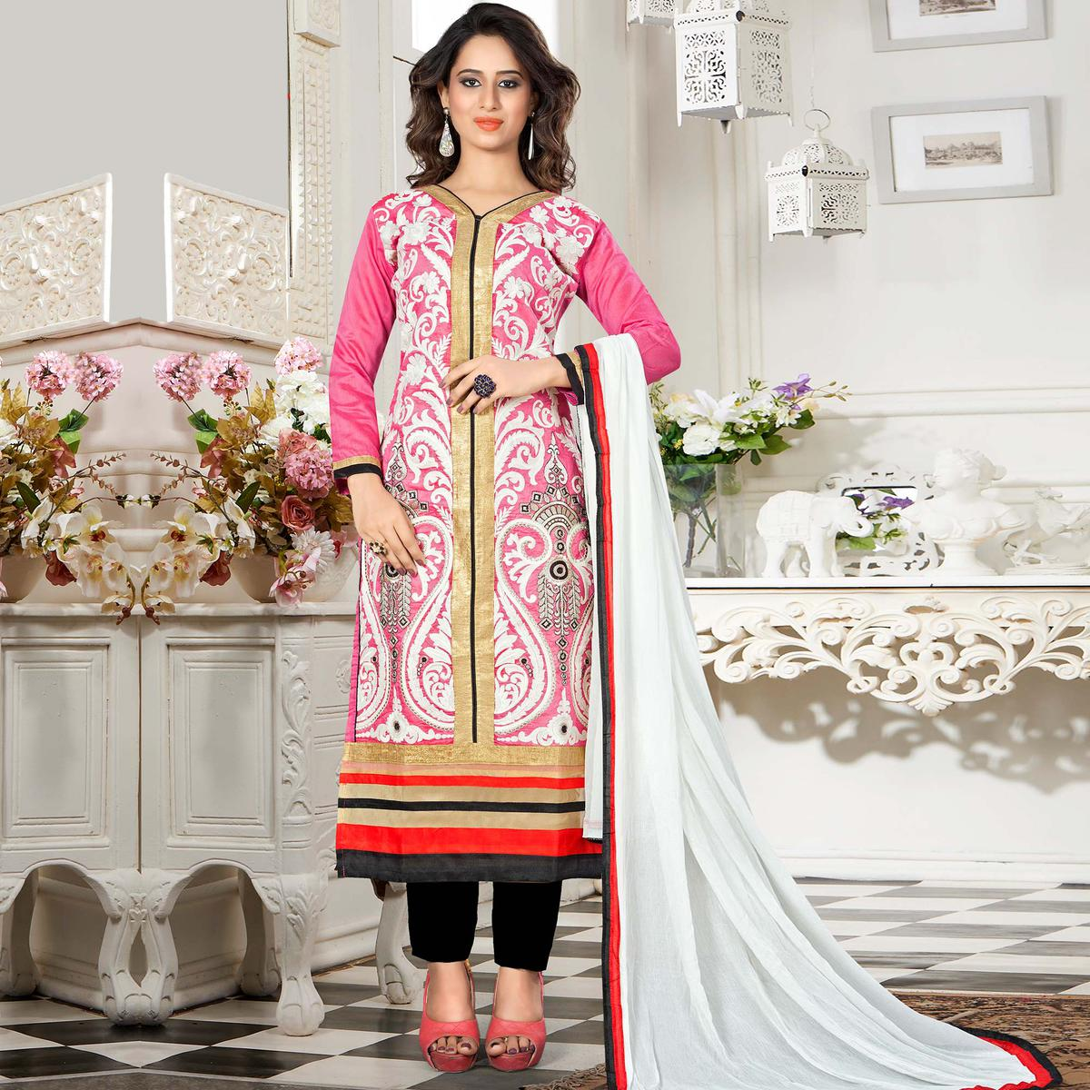 Adorning Pink Colored Party Wear Embroidered Chanderi Silk Dress Material