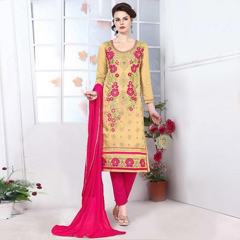 Ethnic Chiku Colored Party Wear Embroidered Cotton Dress Material