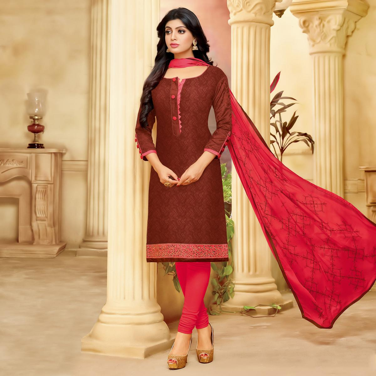Classy Maroon Cotton Jacquard Designer Embroidered Dress Material