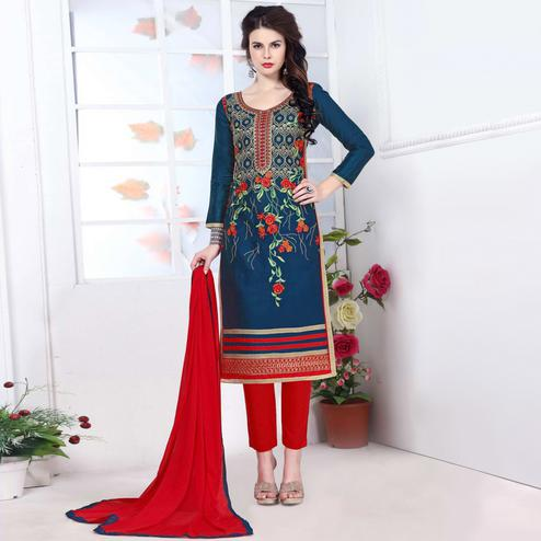 Starring Blue Colored Party Wear Embroidered Cotton Dress Material