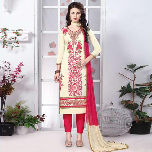 Surpassing Cream Colored Party Wear Embroidered Cotton Dress Material