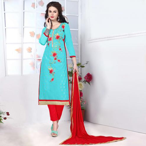 Entrancing Sky Blue Colored Party Wear Embroidered Cotton Dress Material