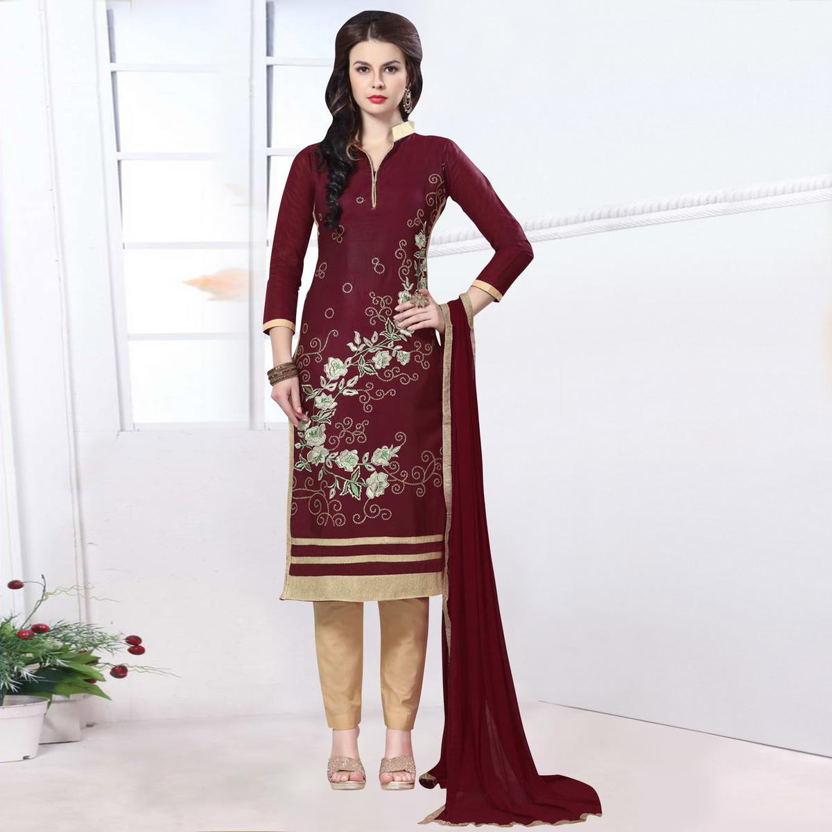 Imposing Maroon Colored Party Wear Embroidered Cotton Dress Material