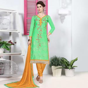 Ideal Pista Green Colored Party Wear Embroidered Cotton Dress Material