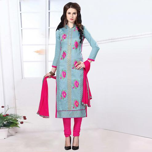 Engrossing Grey Colored Party Wear Embroidered Cotton Dress Material