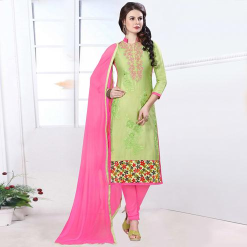 Fantastic Green Colored Party Wear Embroidered Cotton Dress Material