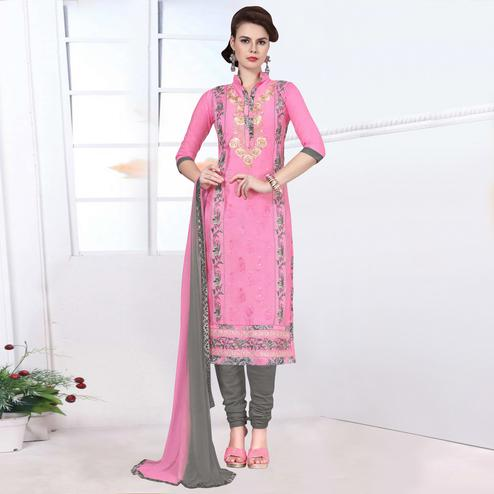 Pleasance Pink Colored Party Wear Embroidered Cotton Dress Material