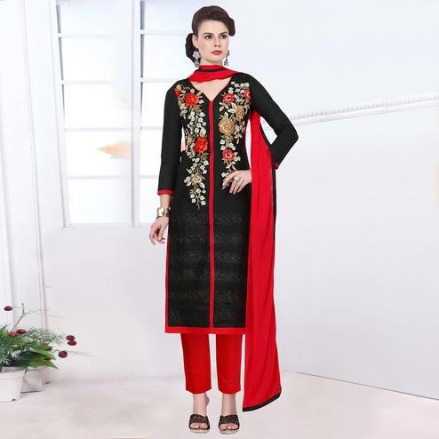 Jazzy Black Colored Party Wear Embroidered Cotton Dress Material