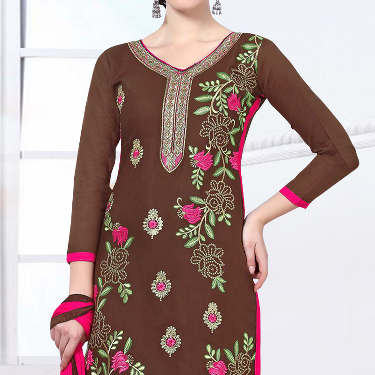 Groovy Brown Colored Party Wear Embroidered Cotton Dress Material
