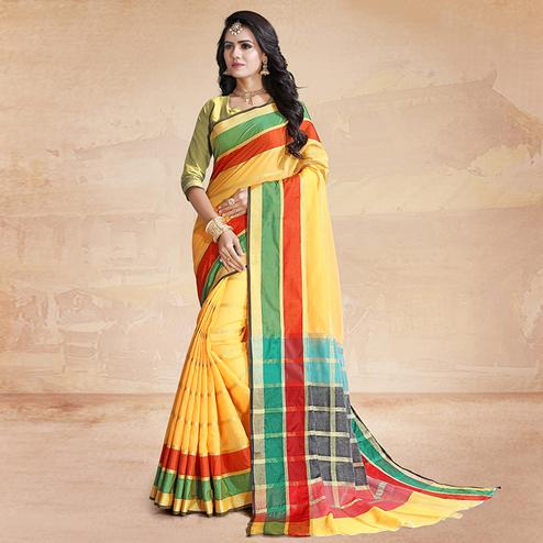 Impressive Yellow Colored Festive Wear Poly Cotton Saree