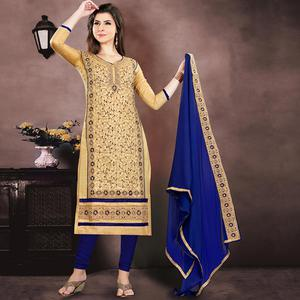 Majesty Beige Colored Party Wear Embroidered Modal Chanderi Dress Material