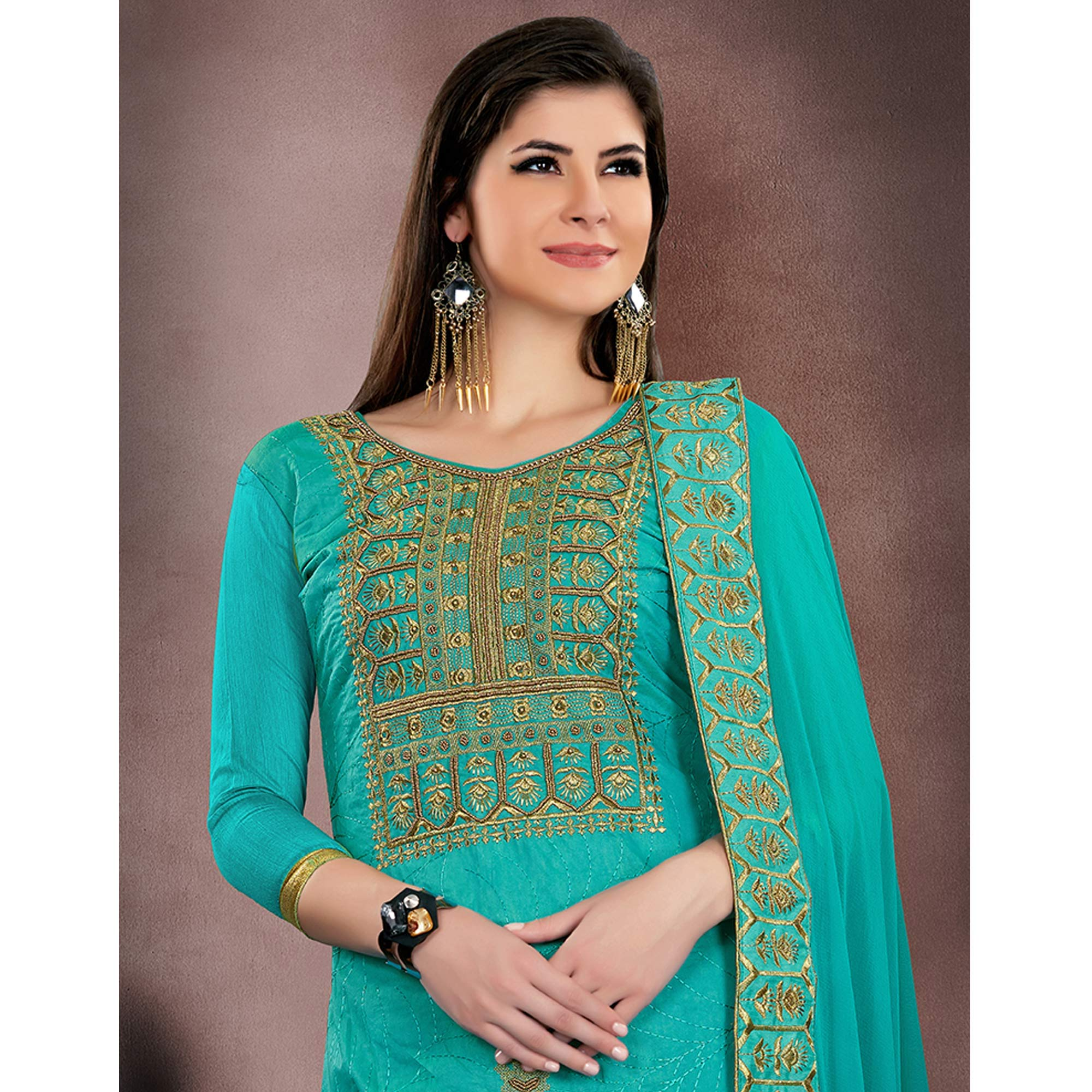 Preferable Turquoise Blue Colored Party Wear Embroidered Modal Chanderi Dress Material
