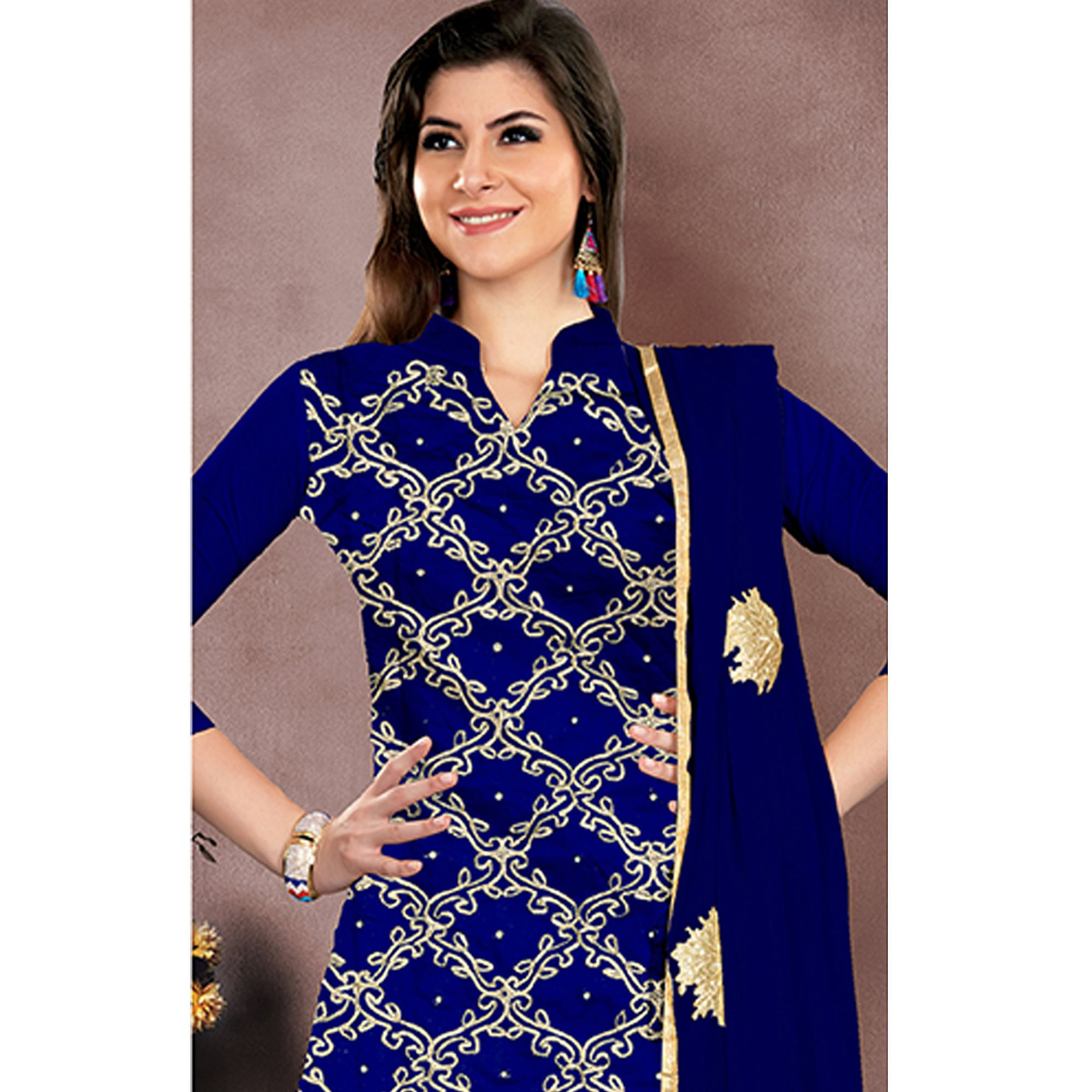 669dd19c36 Beautiful Royal Blue Colored Party Wear Embroidered Modal Chanderi Dress  Material