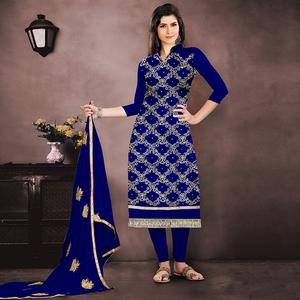 Beautiful Royal Blue Colored Party Wear Embroidered Modal Chanderi Dress Material