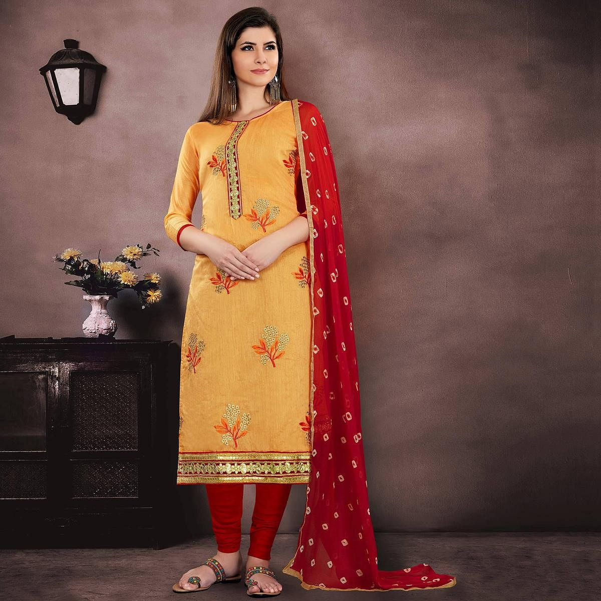 Gorgeous Mustard Yellow Colored Party Wear Embroidered Modal Chanderi Dress Material