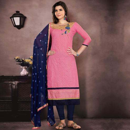 Classy Pink Colored Party Wear Embroidered Modal Chanderi Dress Material