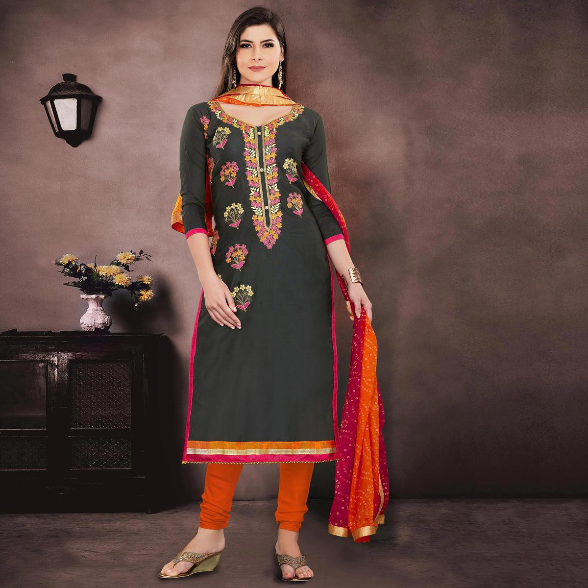 Glorious Dark Grey Colored Party Wear Embroidered Modal Chanderi Dress Material