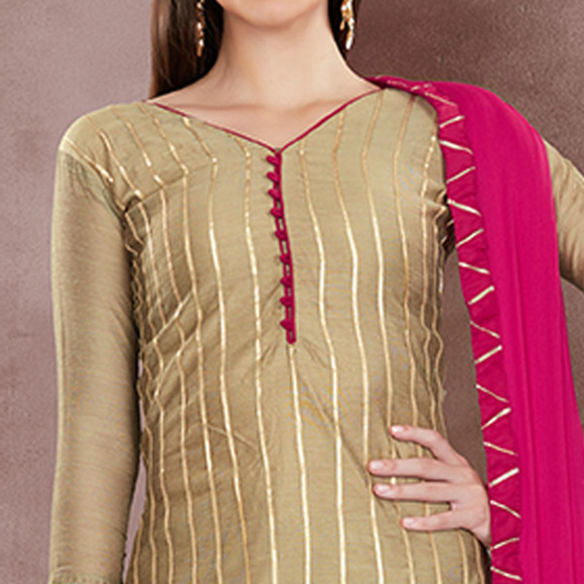 Graceful Beige Colored Party Wear Embroidered Modal Chanderi Dress Material