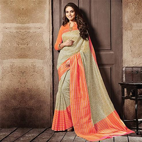Cream - Orange Cotton Silk Printed Saree