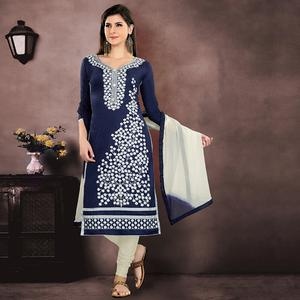 Exotic Navy Blue Colored Party Wear Embroidered Modal Chanderi Dress Material