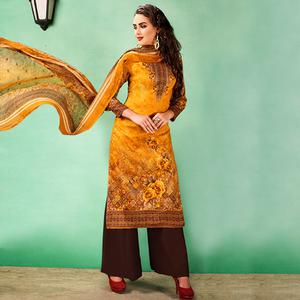 Glowing Mustard Yellow Colored Casual Printed Cotton Dress Material