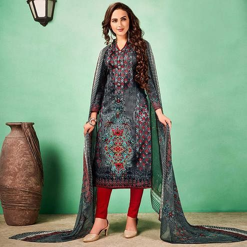 Trendy Dark Gray Colored Casual Printed Cotton Dress Material