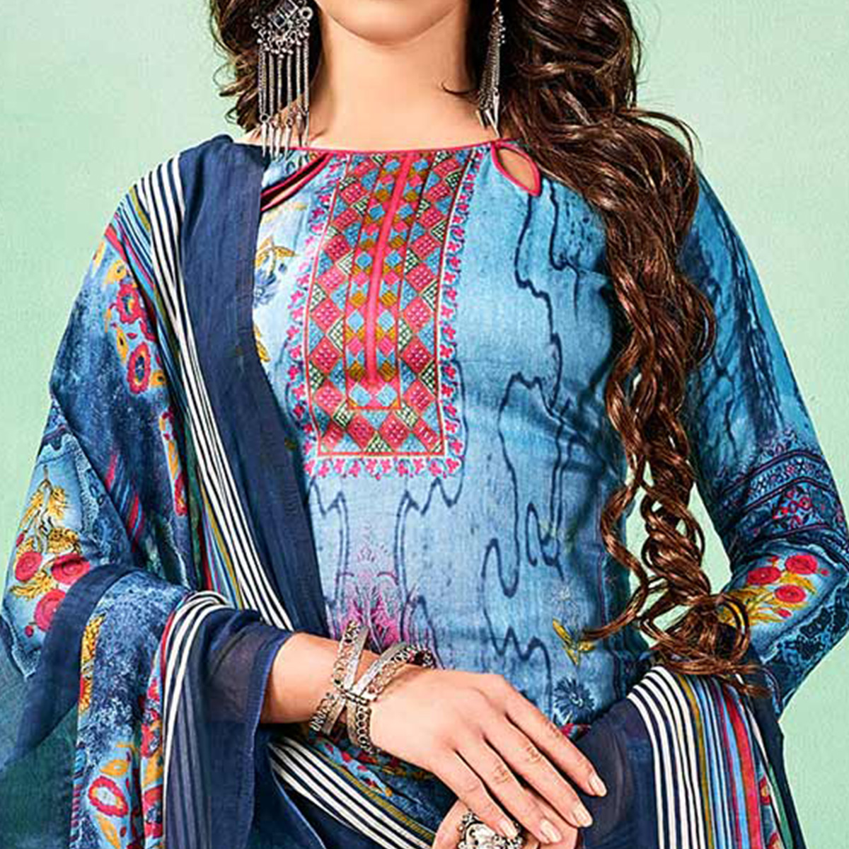 Beautiful Blue Colored Casual Printed Cotton Dress Material