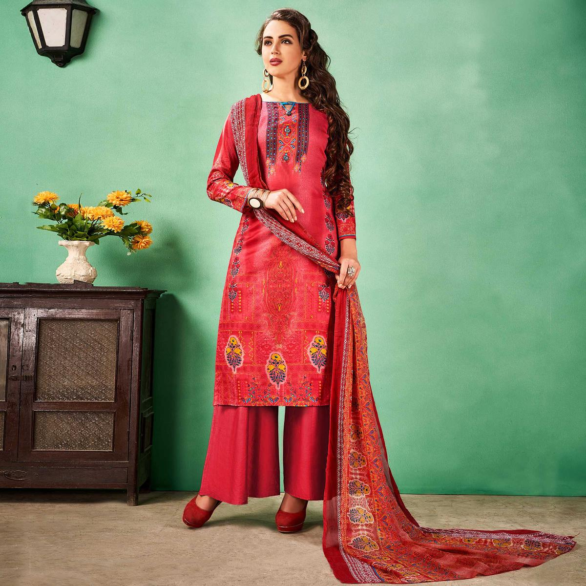 Impressive Red Colored Casual Printed Cotton Dress Material