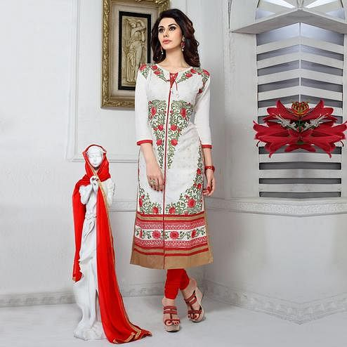 Intricate White Colored Party Wear Embroidered Cotton Dress Material