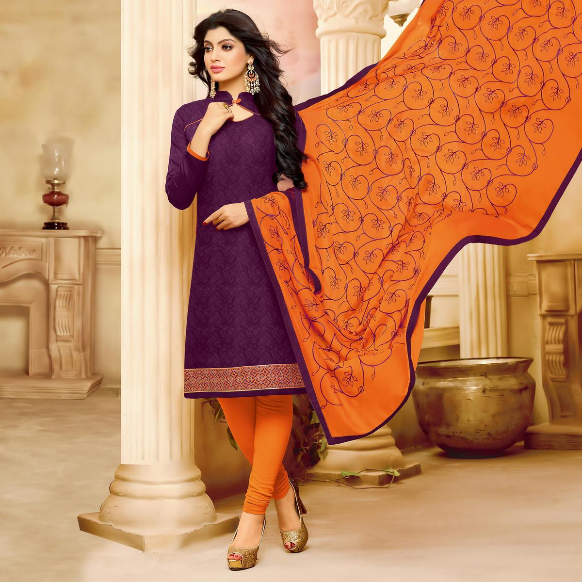 Stunning Purple Cotton Jacquard Designer Embroidered Dress Material