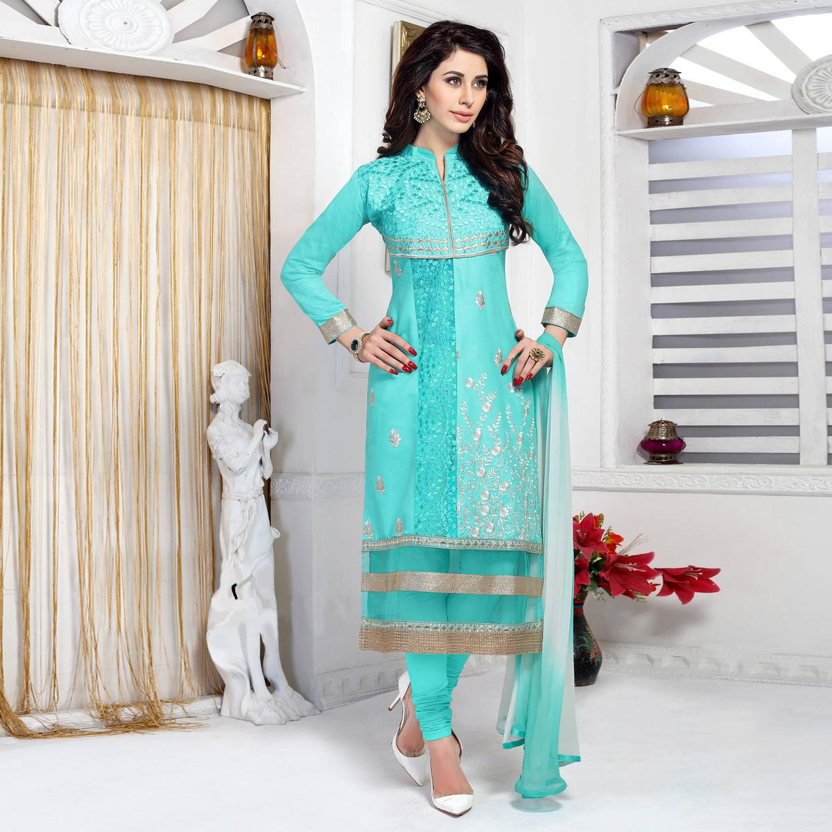 Desirable Cyan Colored Party Wear Embroidered Cotton Dress Material