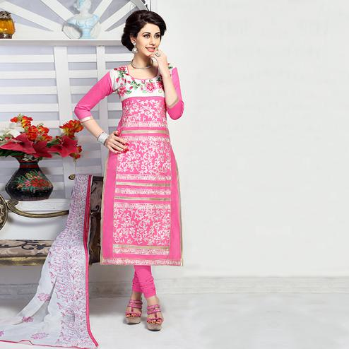 Sophisticated Pink Colored Party Wear Embroidered Cotton Dress Material