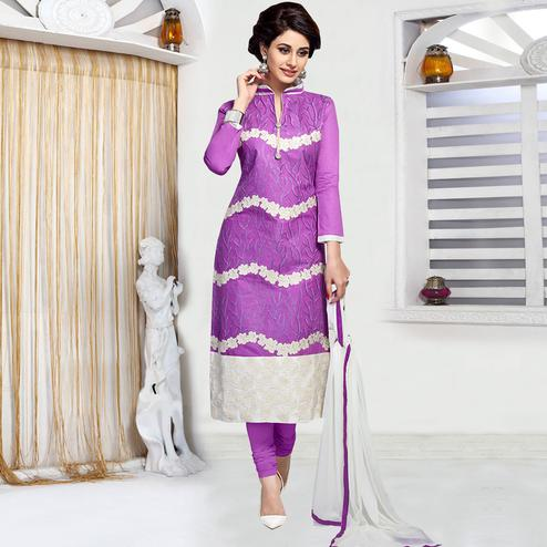 Demanding Purple Colored Party Wear Embroidered Cotton Dress Material