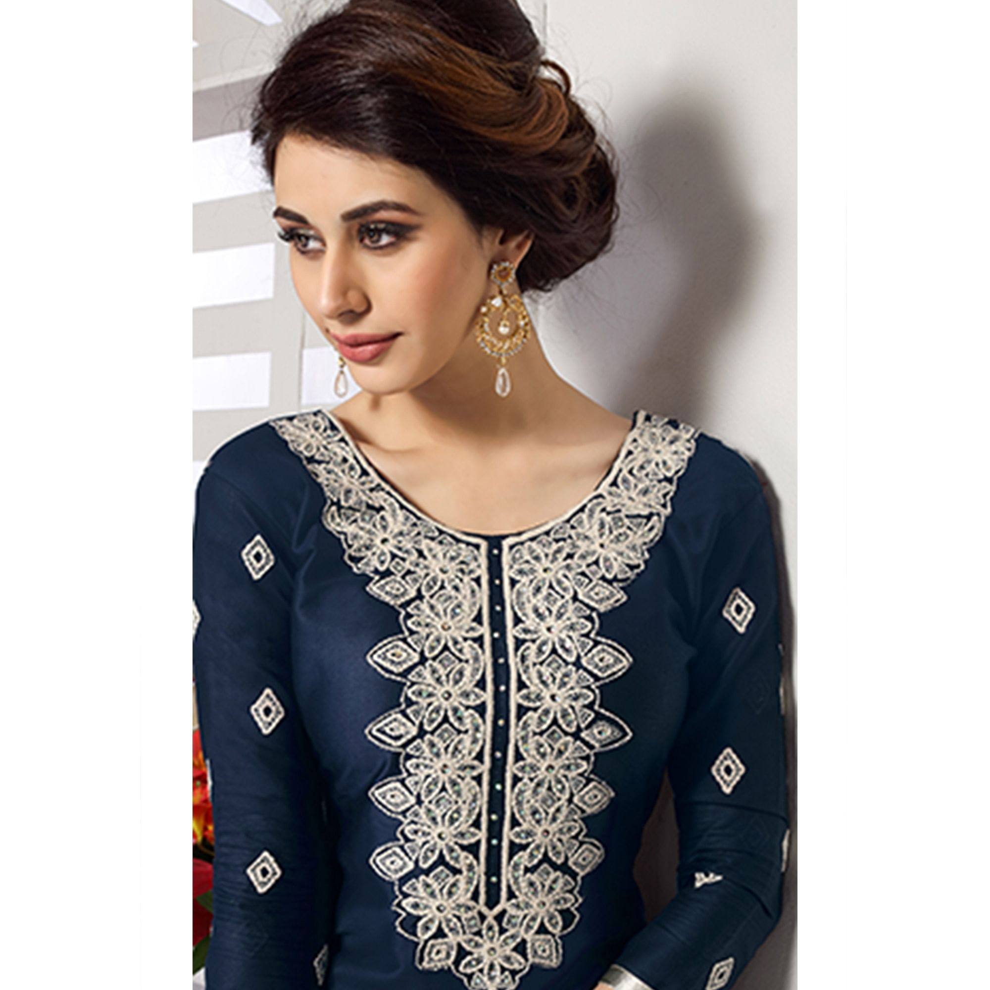 Unique Navy Blue Colored Party Wear Embroidered Cotton Dress Material