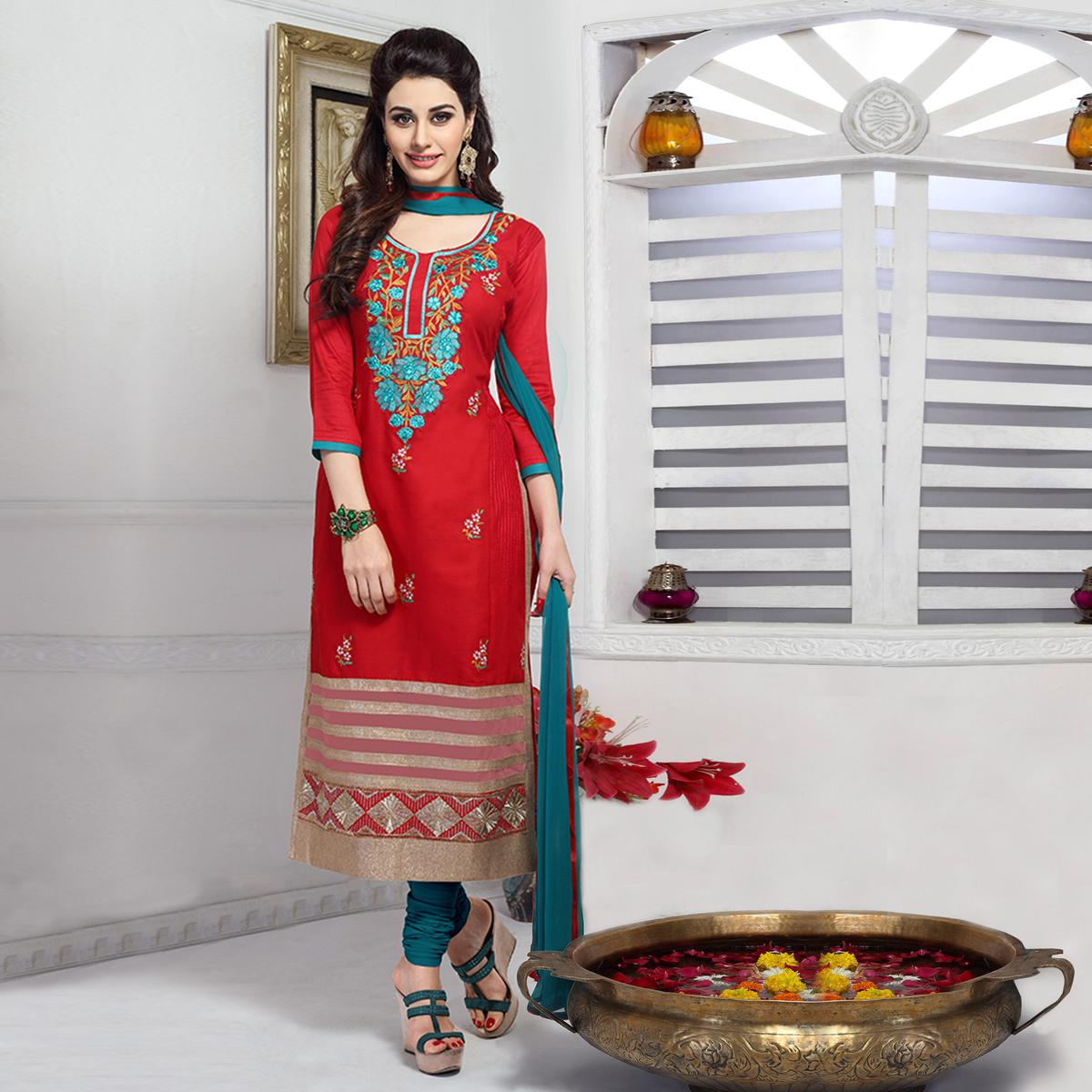 Refreshing Red Colored Party Wear Embroidered Cotton Dress Material