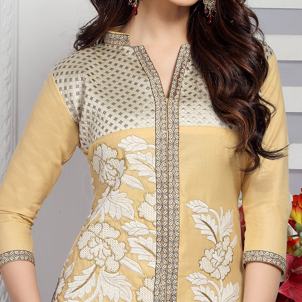 Elegant Beige Colored Party Wear Embroidered Cotton Dress Material
