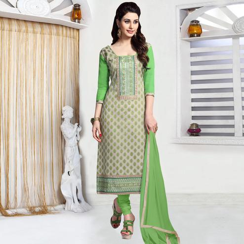 Alluring Beige - Green Colored Party Wear Embroidered Cotton Dress Material